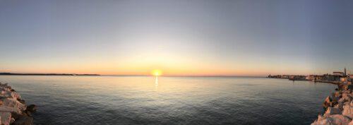 Piran Busbahnhof Sonnenuntergang